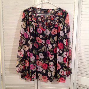 Lane Bryant 16 Lined Black Floral Tassel-Tie Top